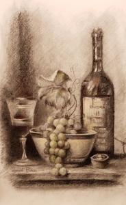 Still Life Rivera Fine Art Wine and Grapes